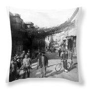Athens Greece  C 1903 - Aeolos Street And The Stoa Of Hadrian Throw Pillow