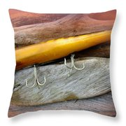 Atom A40 Vintage Saltwater Lure - Whiting Gold Throw Pillow