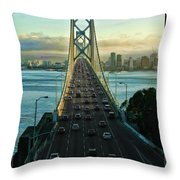 Atop Of San Francisco Bay Bridge Throw Pillow