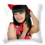 Attractive Young Woman  Throw Pillow