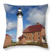 Au Sable Lighthouse 3 Throw Pillow