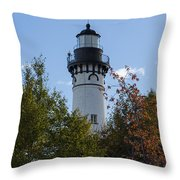 Au Sable Lighthouse 8 Throw Pillow
