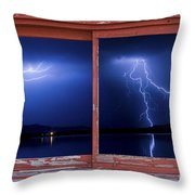 August Storm Red Barn Picture Window Frame Photo Art View Throw Pillow