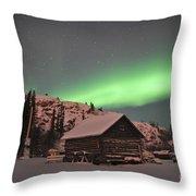 Aurora Borealis Over A Cabin, Northwest Throw Pillow