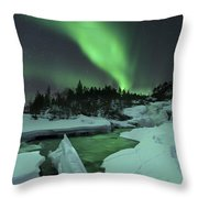 Aurora Borealis Over A Frozen Tennevik Throw Pillow