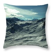 Austria Snow Mountain Throw Pillow