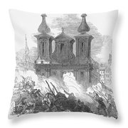Austrian Revolution, 1848. Conflict At The University Of Vienna, Austria, During The Revolution Of 1848. Wood Engraving From A Contemporary English Newspaper Throw Pillow