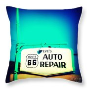 Auto Repair Sign On Route 66 Throw Pillow