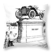 Automobile Cartoon, 1914 Throw Pillow