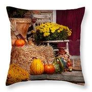 Autumn - Gourd - Autumn Preparations Throw Pillow by Mike Savad