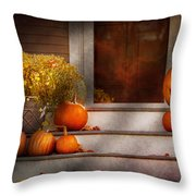Autumn - Halloween - We're All Happy To See You Throw Pillow by Mike Savad
