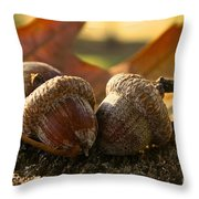 Autumn Acorns Throw Pillow