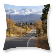 Autumn And Mt Shasta Down The Road Throw Pillow