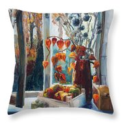 Autumn At The Kitchen Window Throw Pillow