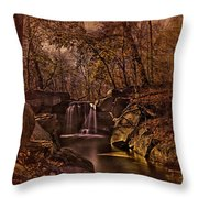 Autumn At The Waterfall In The Ravine In Central Park Throw Pillow