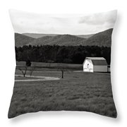 Autumn Barn In Green Bank Wv Bw Throw Pillow