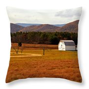 Autumn Barn In Green Bank Wv Throw Pillow