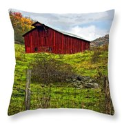 Autumn Barn Painted Throw Pillow