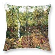 Autumn Birchh Forest Throw Pillow