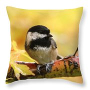 Autumn Chickadee Throw Pillow