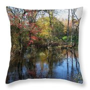 Autumn Colors On The Pond  Throw Pillow
