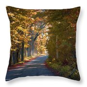 Autumn Country Road - Oil Throw Pillow
