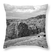 Autumn Farm 2 Monochrome Throw Pillow