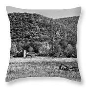 Autumn Farm Monochrome Throw Pillow