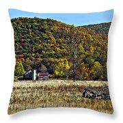 Autumn Farm Painted Throw Pillow