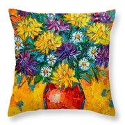 Autumn Flowers Gorgeous Mums - Original Oil Painting Throw Pillow