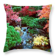 Autumn Garden Waterfall I Throw Pillow
