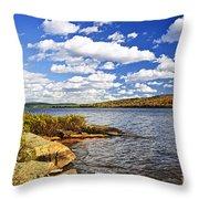 Autumn Lake Shore Throw Pillow