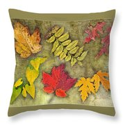 Autumn Leaf Collage Throw Pillow