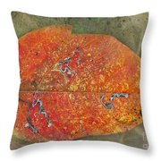 Autumn Leaf With Silver Trails Throw Pillow