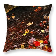 Autumn Leaves In River Throw Pillow