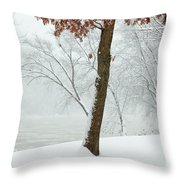 Autumn Leaves In Winter Snow Storm Throw Pillow