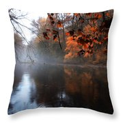 Autumn Morning By Wissahickon Creek Throw Pillow