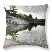 Autumn Nature Lake Rocks And Trees Throw Pillow