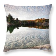 Autumn Nature Lake Rocks And Trees Panorama Throw Pillow