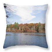 Autumn On Mill Pond Throw Pillow
