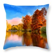 Autumn On The Lake Throw Pillow