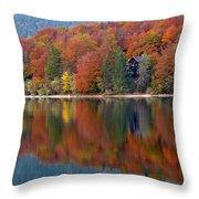 Autumn Reflections On Lake Bohinj In Slovenia Throw Pillow
