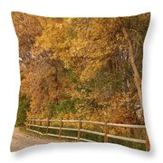 Autumn  Road To The Ranch Throw Pillow
