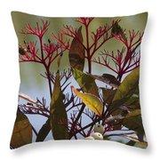 Autumn Snow Berry Bush Throw Pillow