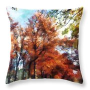 Autumn Street Perspective Throw Pillow