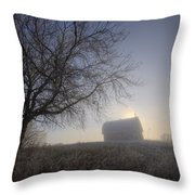 Autumn Sunrise Over Barn On A Farm Throw Pillow