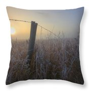 Autumn Sunrise Over Hoar Frost-covered Throw Pillow