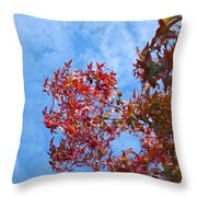Autumn Trees Art Prints Blue Sky White Clouds Throw Pillow