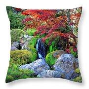 Autumn Waterfall - Digital Art Throw Pillow