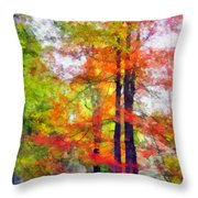 Autumnal Rainbow Throw Pillow